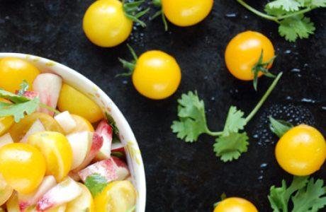 סלסת עגבניות שרי צהובות